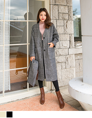 China Check Wool Coat 40415