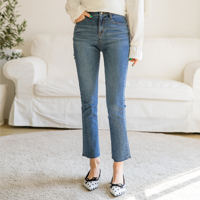 CROWNY HIDDEN BANDING Straight Denim Pants 41959