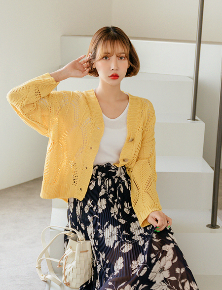 See-through look Knit Cardigan 43344