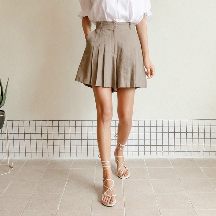 Jenin Linen Bending Short Pants 44234