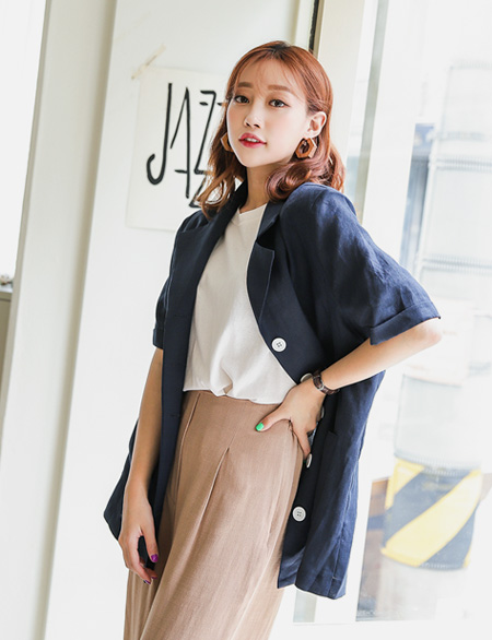 JI Den Linen Button Jacket 44803
