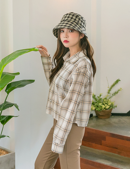 Deck Check Crop Shirt 45009