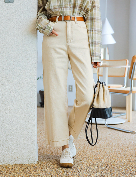 Slant Cotton Wide Pants 45151