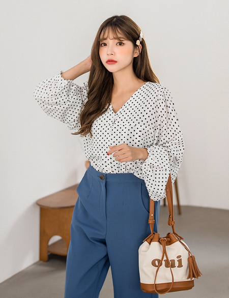 Riviel Pintuck Dot Blouse 45074