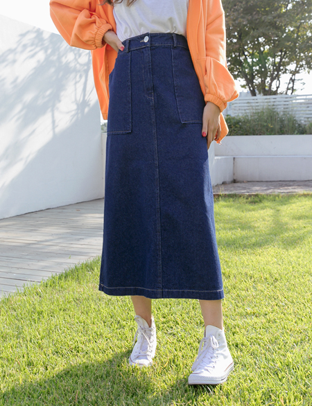 Backfill Bending Denim Long Skirt 45947