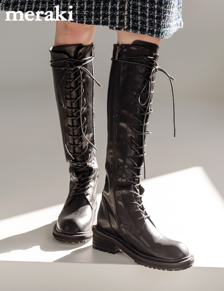 Dial Lace Up Long Boots 95253