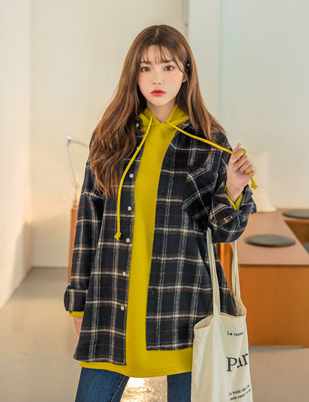 Earth loose fit Wool Check Shirt 46637