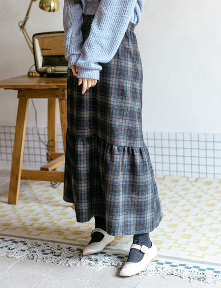 Lena Wool Check Banding Long Skirt 46953