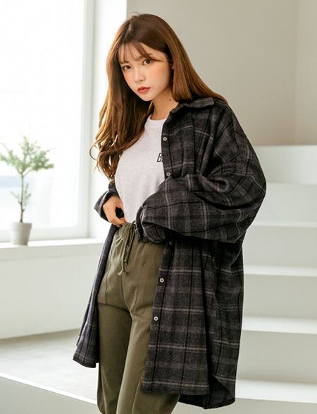Noraine Outerwear loose fit Check Shirt 47190