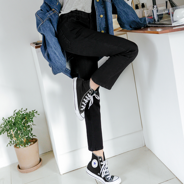 [12 cars in stock] Shannon Real Black Hidden Banding Straight Pants 47669