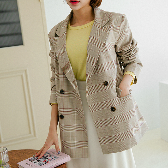 Drawey Check loose fit double jacket 48037