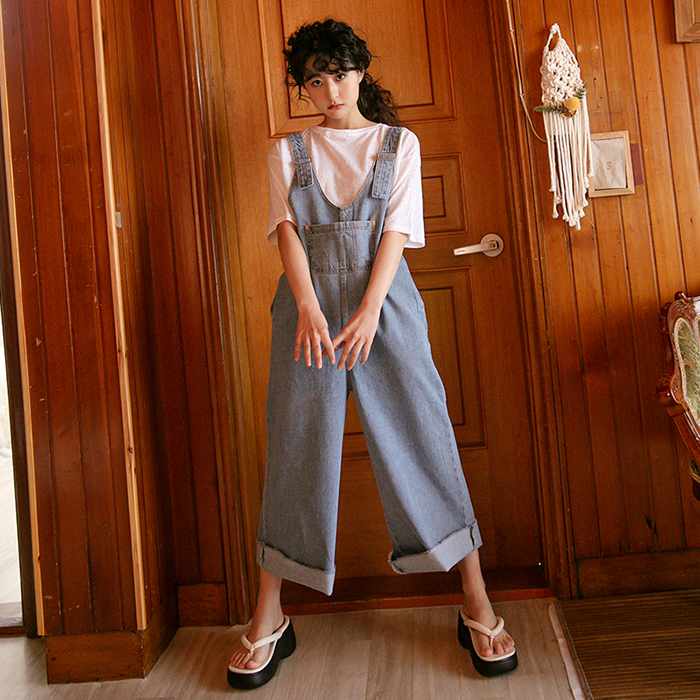 Teddy's Denim Wide Shoulder strap Pants 49397