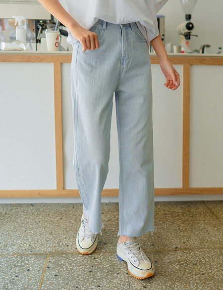 Salty Rear Banding Wide Denim Pants 49982