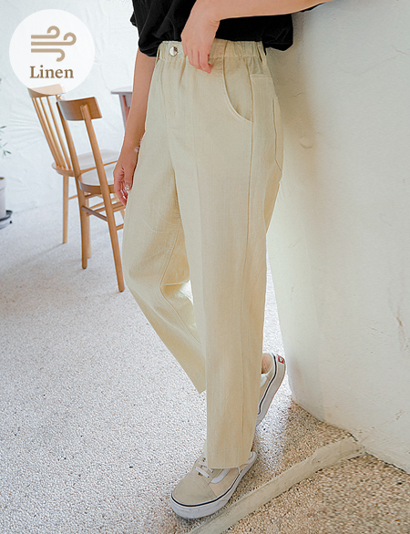 Even band Linen Wide Pants 50009