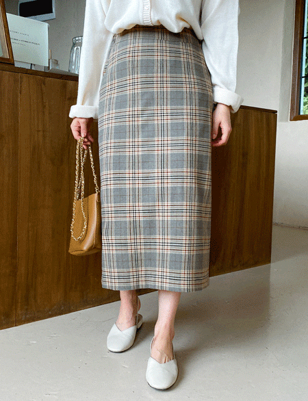Netflix Waistband Check Long Skirt 50849