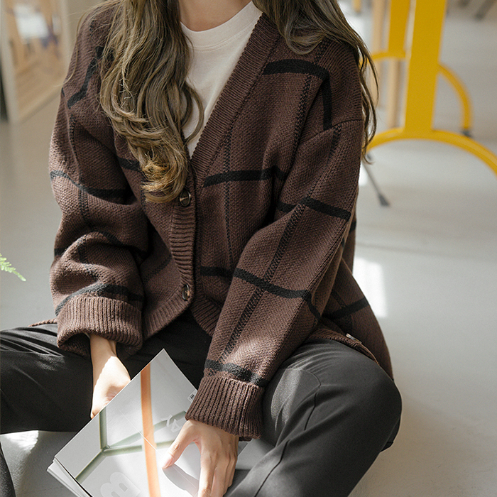 Ern Check loose fit Cardigan 51105