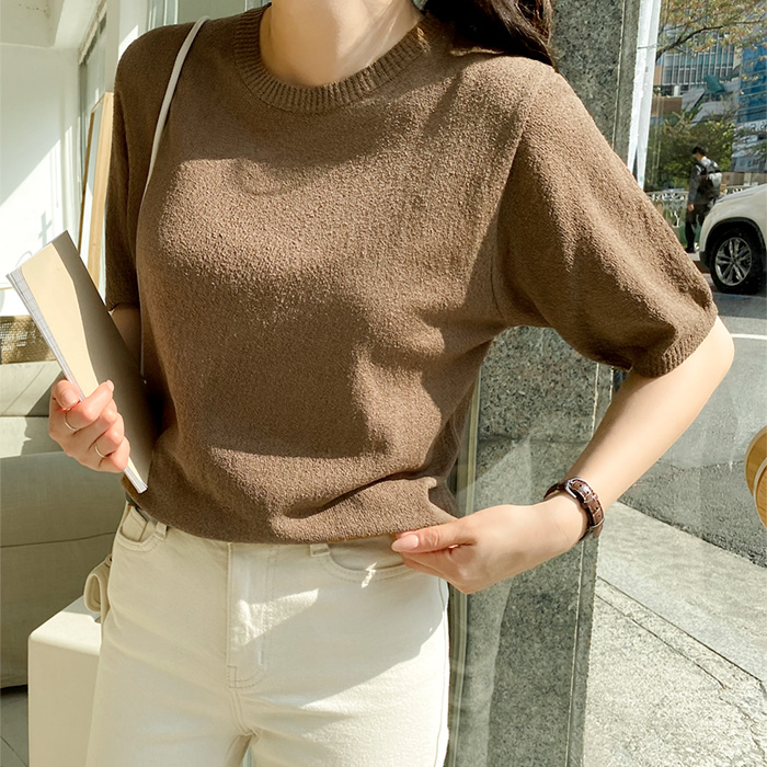 Round neck plain simple short sleeve knit cut and sew 59030