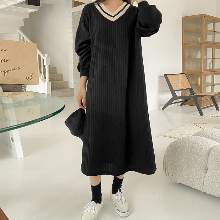 Cellic color matching ribbed long dress 61502