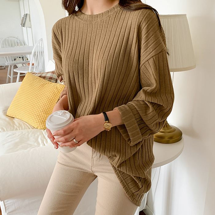 Cicaview Ribbed Loose Fit Knit Tee 61642