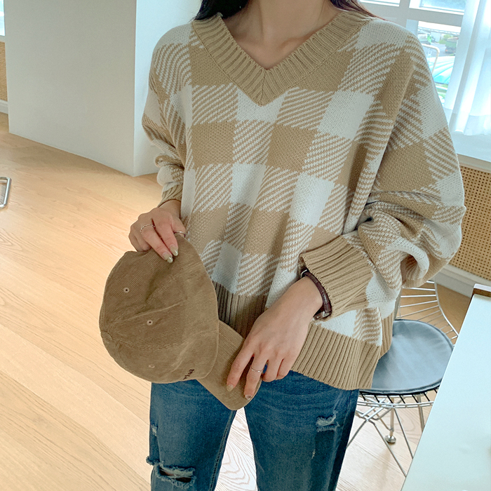 Ithello loose fit check knit 61361